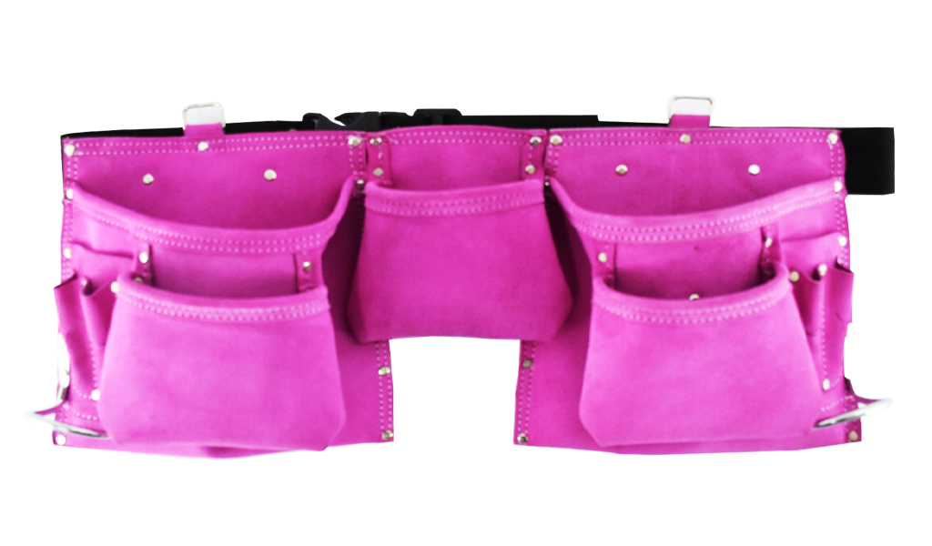 5 Pocket Suede Leather Womens Pink Tool Pouch Bag